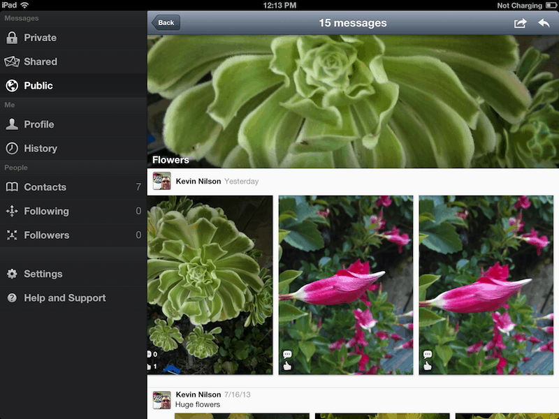 Just.Me App 1.2 iPad Landscape View
