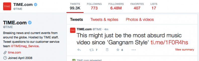 Time.com uses branded .ME short links - ti.me to brand their shared content across all media.