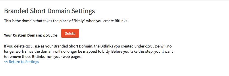 Fourth step to creating branded .ME short links with bit.ly