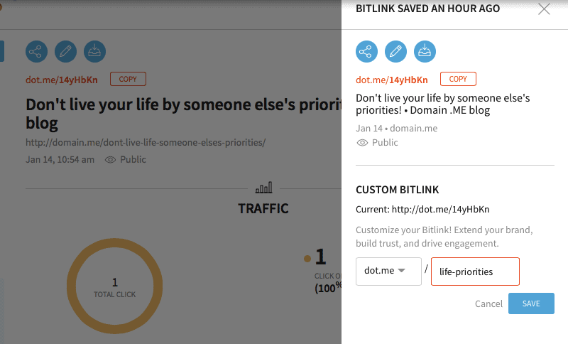 Domain.me uses dot.me for their branded short links