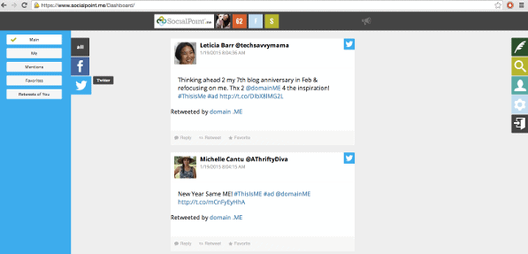 Socialpoint displays you Twitterfeed.