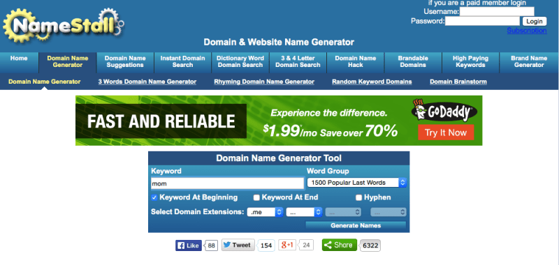 NameStall is one of the most used domain and website name generators.