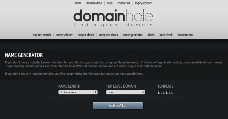 DomainHole's Name Generator is for people that want to explore options.