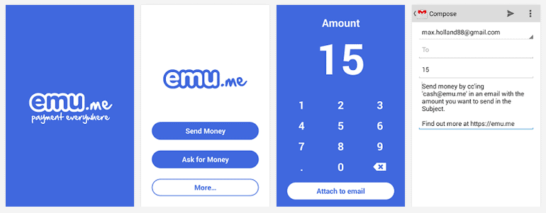 Emu app allows you to send money via email.