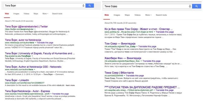 Google search in Cyrillic and Latin