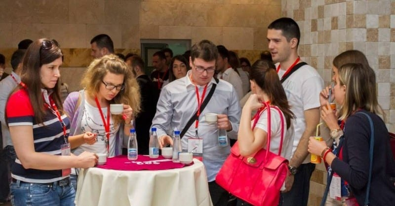 People connecting at Spark.Me 2014