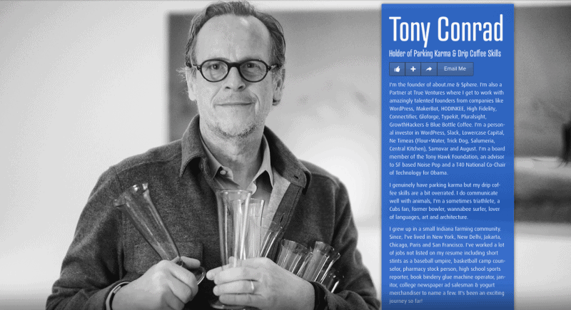 Tony showson his own example how you can leverage your about.me page to build your brand.