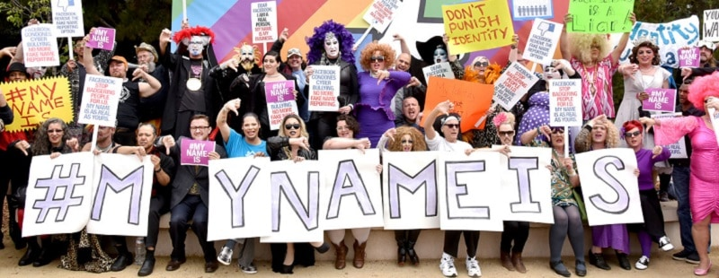 LGBTQ community members protesting against Facebook 'real name' policy.