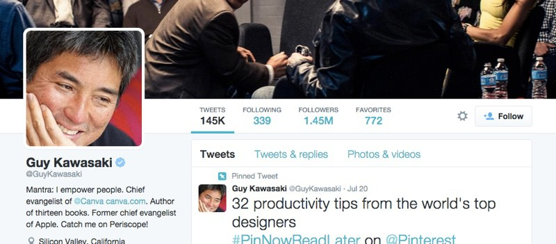 Guy Kawasaki's repeat tweets
