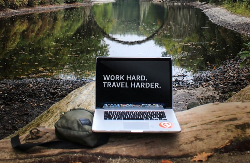 work hard travel harder laptop Daniel Tay Content Marketer and Digital Nomad