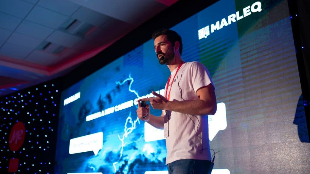 MARLEQ presenting at Spark.me 2018 Startup Competition